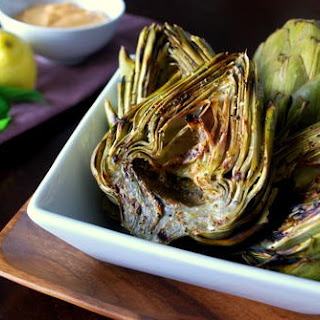 Grilled Artichokes with Lemon-Basil Dipping Sauce