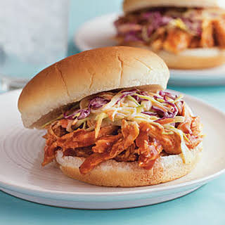 Pulled Barbecue Chicken and Coleslaw Sandwiches.