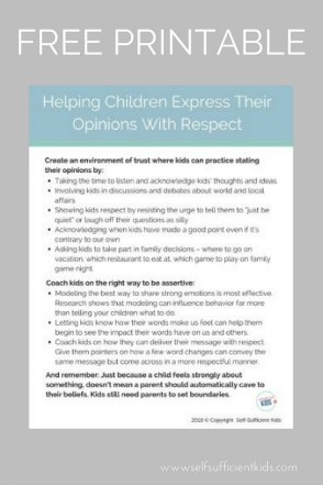Help children express their opinions with respect