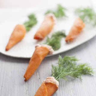 Salmon Mousse Carrot Cones.