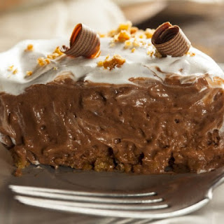 Chocolate Peanut Butter Pie With Rice Krispies Crust.