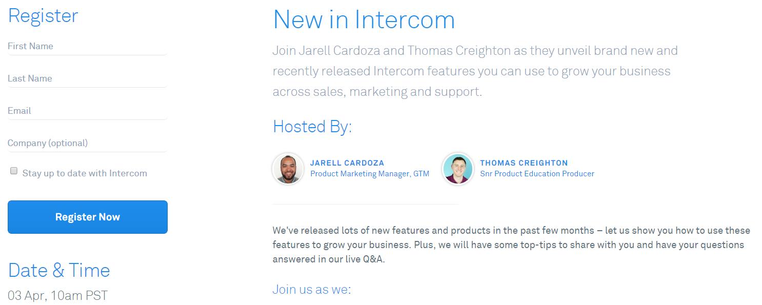 Intercom Webinars