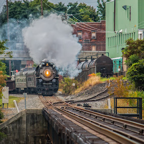 More steam by Michael Wolfe - Transportation Trains ( train tracks, steam engine, trian cars, train, bridge, passenger cars,  )