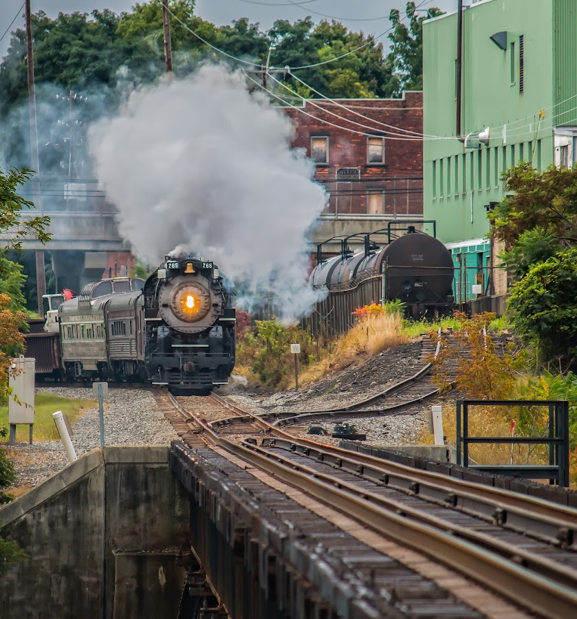 More steam by Michael Wolfe - Transportation Trains ( train tracks, steam engine, trian cars, train, bridge, passenger cars,  )