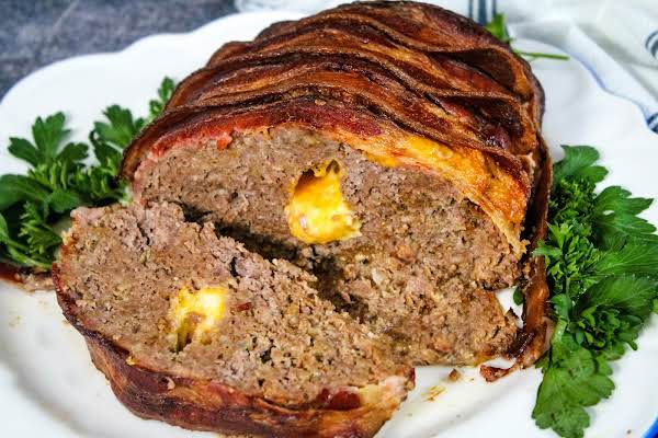 Inside Of The Cheese-stuffed Bacon-wrapped Meatloaf.