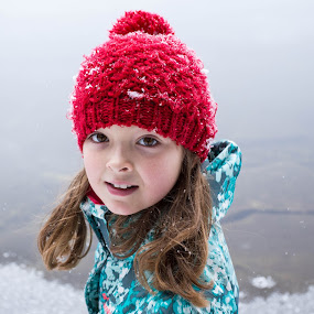 Huh? by Jennifer Bacon - Babies & Children Children Candids ( girl, witner, snow, candid, red hat )