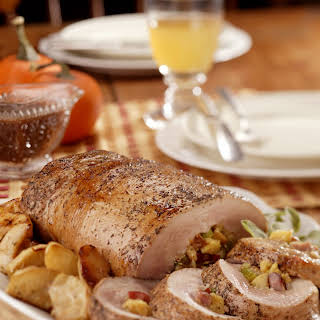 Apple and Cornbread-Stuffed Pork Loin with Roasted Apple Gravy.