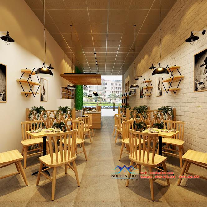 thiết kế cửa hàng cafe đơn giản mà lịch sự