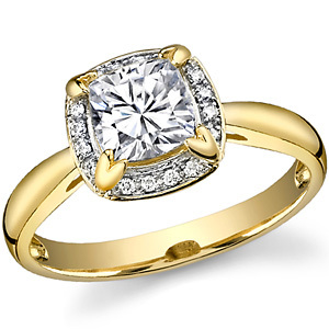 Золотое кольцо с бриллиантами и муассанитом 1 карат