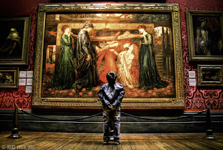 Photo: I wanted to share one more image before I go to bed.  This is a very early piece from me, I know its a little rough around the edges and has issues with it but I like it as for me it was the start of so many things.  This is my son at the walker art gallery, he is looking at the painting by Rossetti - Dante's Dream at the Time of the Death of Beatrice. He took this pose by himself and seemed mesmerise by the painting, I sneaked behind him and got low to get this image.  When I finished I stood with him and we talked about the painting, he liked the colours but could not understand why a lady was kissing another.