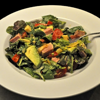 Spinach, Ham, Avocado Salad, Thousand Island Dressing