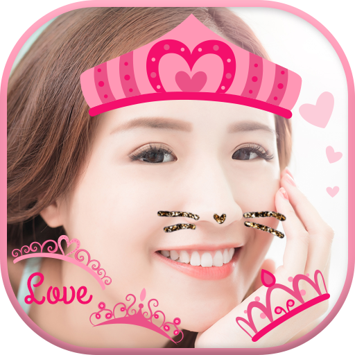 Cat Face & Heart Crown Stickers Best One Camera