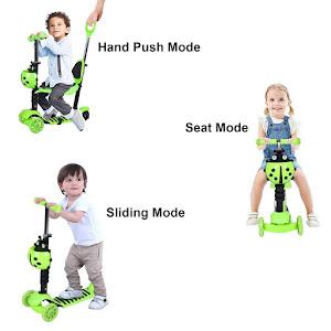 Trotineta copii 5 in 1 cu scaunel si maner, Buburuza Verde