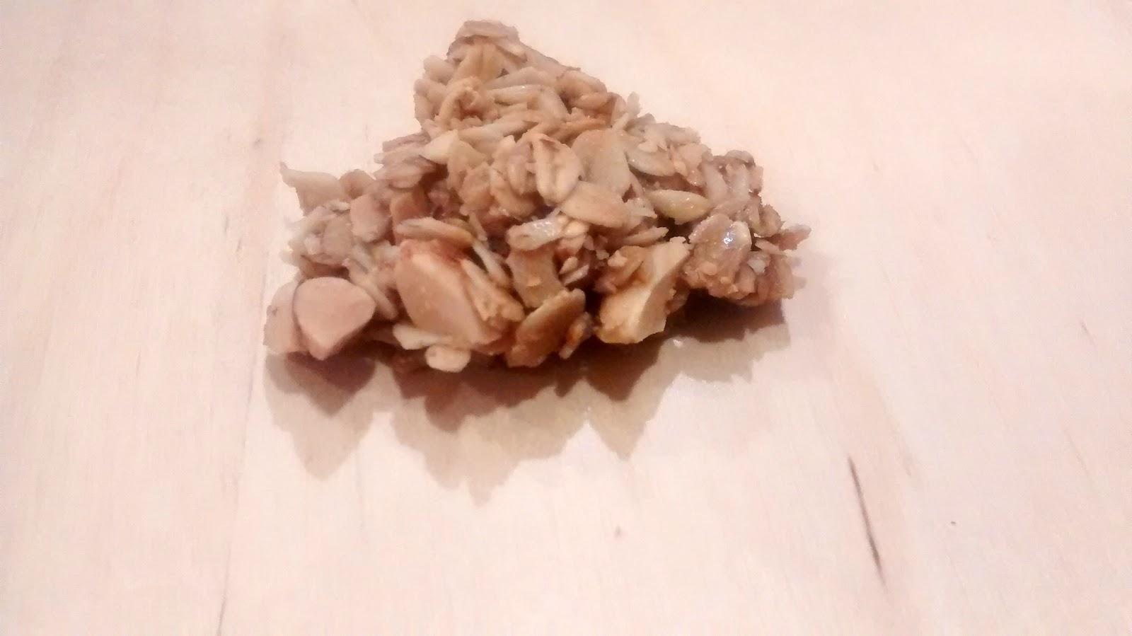 post-baking; a non-cranberry cluster of clumpalicious almond granola