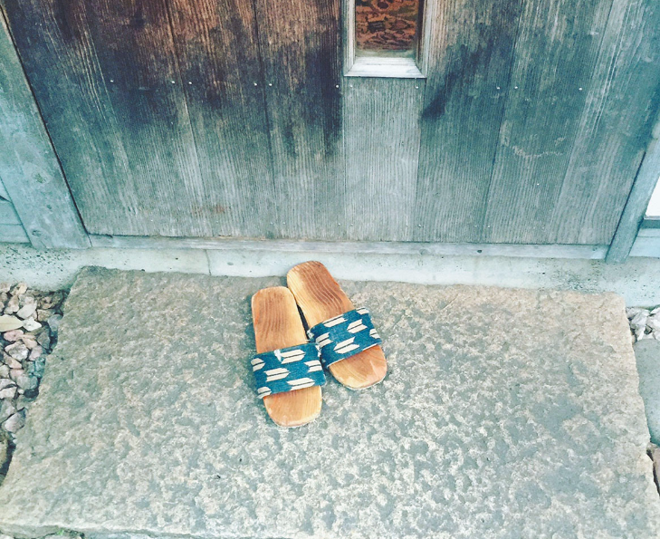 Wooden shoes at Nishi Azabu traditional house