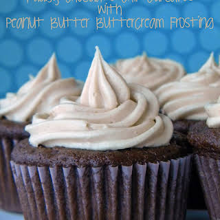 Fudgy Chocolate Chip Cupcakes with Peanut Butter Buttercream Frosting.