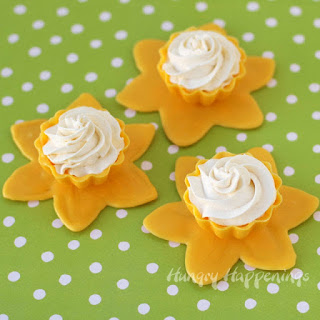 Daffodil Candy Cups filled with Lemon Mousse