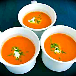 Roasted Heirloom Tomato Soup with Cashew Cream.