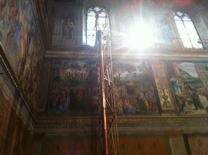 Photo: 030913 Papal Smoke Stack inside Sistine Chapel
