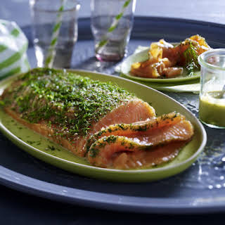 Cured Salmon with Honey and Dill Sauce.