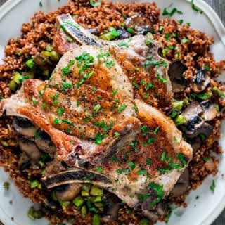 Grilled Pork Chops with Quinoa, Asparagus and Mushrooms.