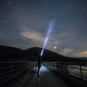 On the bridge by Vladeta Manic - Landscapes Starscapes ( clouds, reflection, mountain, stars, lake, night, bridge, nikon,  )