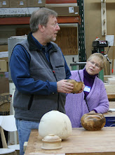 Photo: Steve starts a conversation with Bob about the Myrtle wood and how it looks nothing like Myrtle from the states.