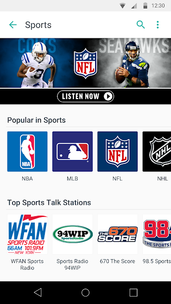 TuneIn: Stream NFL Radio, Music, Sports & Podcasts Android 5