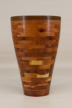 "Photo: Bob Grudberg 4"" x 8"" segmented vessel [various species]"