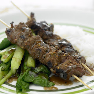 Spicy Beef Skewers with Chinese Broccoli