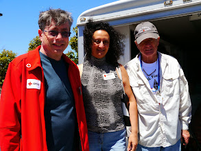 Photo: Bruce (KI6CYT) and Madeleine Biskintaoui (AF6NL) with Richard Fateman.