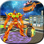 Futuristic Flying Robot Car Superhero Robot War