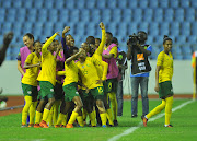 Banyana Banyana star winger Thembi Kgatlana leads a celebration with her teammates after scoring the opening goal in a 2-0 semifinal win over Mali at Cape Coast Stadium in Ghana on November 27 2018.