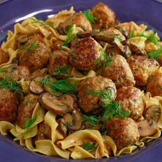 Turkey or Veal Meatball Stroganoff.