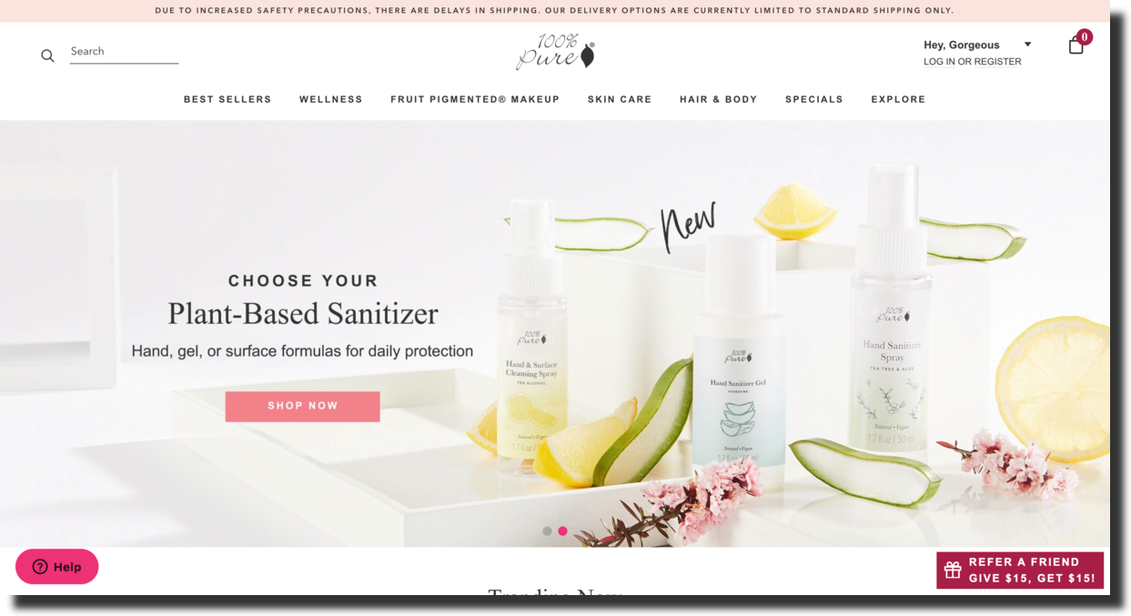 100% Pure cosmetic company website screenshot Ecommerce Website Designs