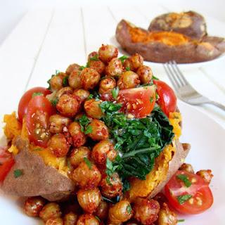 Sweet Potatoes, Crispy Chickpeas & Kale (Vegan + GF).