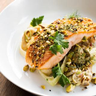 Dukkah-Spiced Salmon with Spring Vegetable & Oyster Mushroom Ragú