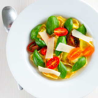 Tomato Consomme with Tortellini.