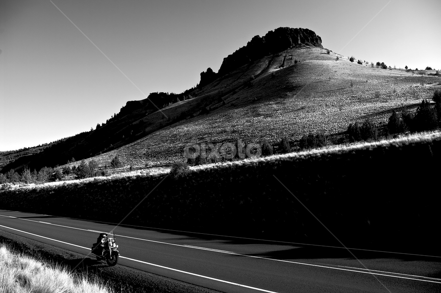Alone on highway 26 by Glenn Roesener - Transportation Motorcycles ( motorbike, highway, black and white, summer, motorcycle )