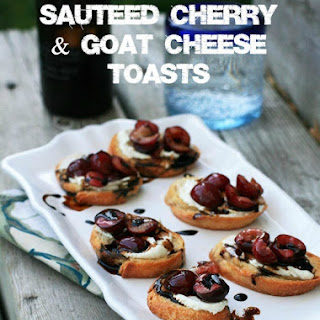 Sauteed Cherry and Goat Cheese Toasts