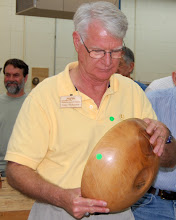 Photo: Gary finishes his prolific display with a sycamore salad bowl that needed some extra work.