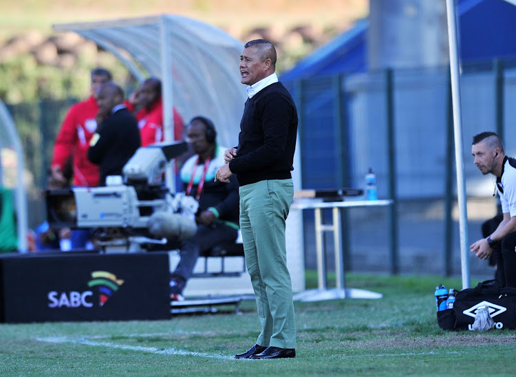 AmaZulu FC coach Cavin Johnson watches on from the touchline during 2-1 Absa Premiership home win over Free State Stars at King Zwelithini Stadium, Durban on August 19 2018.