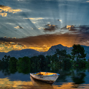 Lakeside at Sunrise by Charlie Alolkoy - Digital Art Places ( mountain, lake, sunrise, boat, rays )