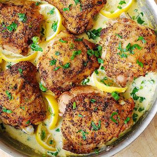 Lemon Pepper Chicken with Creamy Garlic-Lemon Sauce.