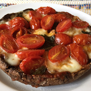 Portobello Pizza Recipe With Fresh Mozzarella, Basil And Cherry Tomatoes