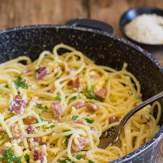 Classic Carbonara Pancetta and Egg Pasta.