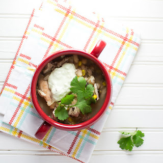 Slow Cooker White Chili with Avocado Cream.