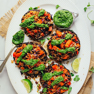 Quinoa & Vegetable Stuffed Portobello Mushrooms.