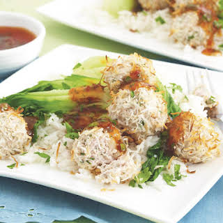 Chicken, Cilantro and Coconut Meatballs with Sweet Chili Sauce.