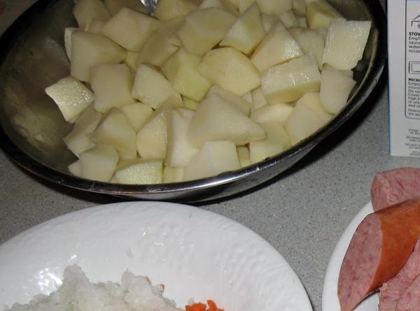 Cut potatoes into 1- 1 1/2 inch cubes. Set aside. (sometimes I will cut...